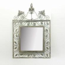 Antike Metall Wanddekoration Blätter Spiegel