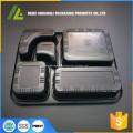 schwarzer mikrowellentauglicher Einweg-Lebensmittelbehälter aus Kunststoff