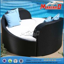 Daybed de vime PE confortável ao ar livre
