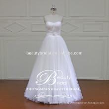 Qualificado Pretty A-Line Shape Strapless Sweetheart Vestido de casamento sem laço Applique
