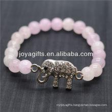 Wholesale Diamante Elephant With 8MM Semi Precious Stone Stretch Bracelet