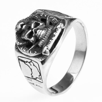 Handmade Jewelry engrave map skull ring