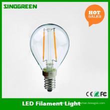 Europa Venta caliente G45 E14 2W LED bulbo de la bola del filamento