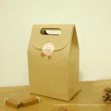 Saco de papel kraft de fundo plano ecológico