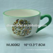 Mano pintura taza de café de cerámica al por mayor con mango