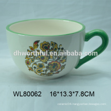 Hand painting wholesale ceramic coffee cup with handle