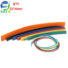 Feibo colorful low voltage electric cable wires insulation ID 14mm PE thin wall heat shrink tubing