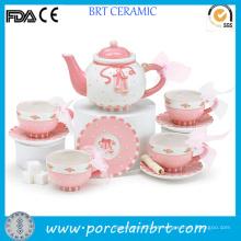 Melhor presente moderno flor rosa lindo conjunto de chá