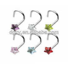 Zircon Korea bent stainless steel nose studs body jewelry