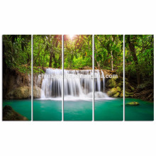 Grüner Traumhafter Wasserfall Leinwand Bilddruck / Zuhause Dekoration Landschaft Wand Kunst / Wald Sonnenlicht Leinwand Wand Kunst