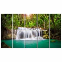 Impresión verde de la imagen de la lona de la cascada de Dreamlike / decoración casera Arte de la pared del paisaje / arte de la pared de la lona de la luz del sol del bosque