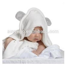 100% bambou organique douce oreille de couleur gris à capuchon bébé serviette de bain avec ours HDT-9020 Chine usine, ours mignon