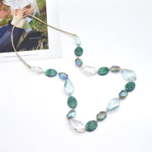 Custom green acrylic and transparent resin necklace long sweater leather rope chain necklace
