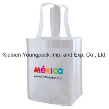 Eco amigável reutilizável branco saco de compras não-tecidos promocionais