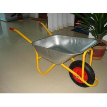 Carrinho de mão de jardim com bandeja de metal galvanizado