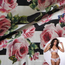 spandex floral printed lightweight superfine nylon 4 way stretch lingerie fabric