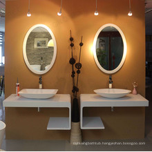 Unique waterproof hotel used Led solid surface frame Bathmirrors