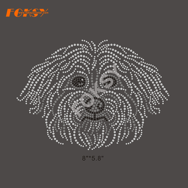 Iron On Rhinestone Transfer Dog Motif