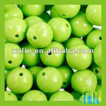 Perlas de silicona de grano redondo verde brillante bola de material acrílico
