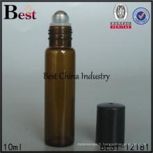 Rouleau de 10ml 12ml sur la bouteille en verre avec le chapeau, rouleau vide d'acier inoxydable sur des bouteilles, sérigraphie