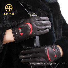2014 new style ladies fashion lambskin leather gloves for winter