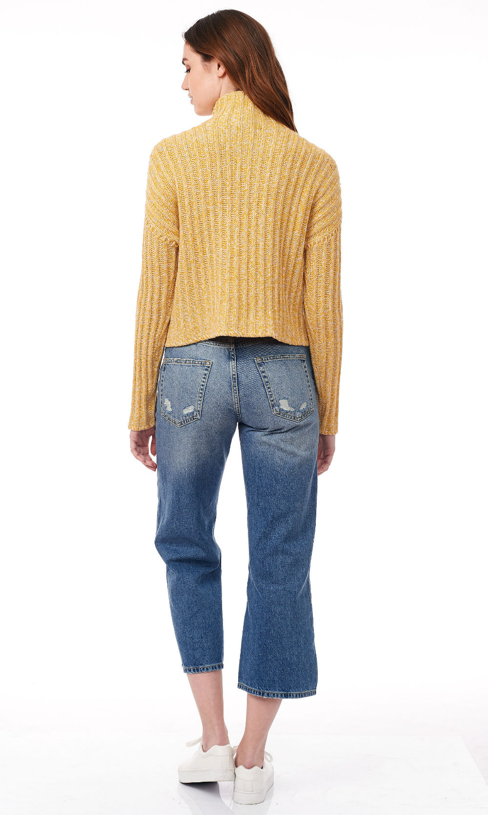 freesia turtle neck wide rib knitwear back