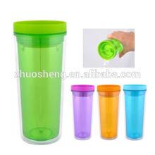 vaso de acrílico cristal vino, vaso de acrílico con paja, personalizada vaso de doble pared