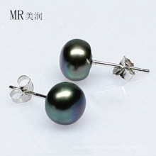 Black Natural Freshwater Pearl Earring Stud