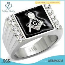 Ágata negra masónica freemason 316 anillo de acero inoxidable para hombre