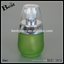 botella de la loción, botella más nueva de lujo de la loción del diseño para el suero de plata y el casquillo claro, botella de cristal al por mayor para el perfume