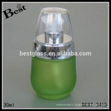 Bouteille de lotion, nouvelle conception bouteille de lotion fantaisie pour sérum d'argent et bouchon transparent, bouteille en verre en gros pour le parfum