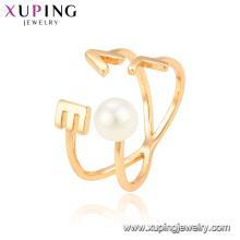 15330 bijoux xuping nouvelles femmes style 18k plaqué or bague avec des bijoux en perles blanches