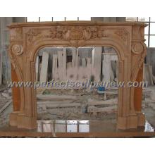Cheminée en marbre avec mantet en pierre (QY-LS206)