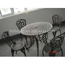 ensemble de meubles de jardin en plein air en aluminium moulage au sable