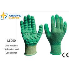 Concha de algodón anti-vibración con guante de trabajo de seguridad recubierto de látex (L8000)