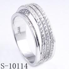Novo design micro pave zirconia 925 anel de prata (s-10114)