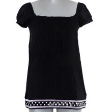 Black blouse with embroidery, lace and knit