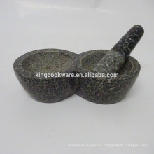 Herb & spice tools, piedra natural mármol / granito doble mortero negro
