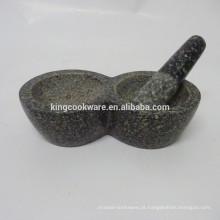 Ferramentas de ervas e especiarias, pedra natural mármore / granito preto almofariz e pilão