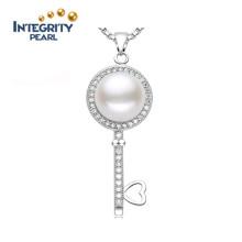 Al por mayor colgante de perlas 9-10mm AAA pan redondo 925 plata colgante de perlas de agua dulce