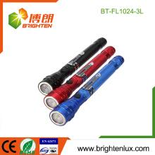 Fabrik Bulk Verkauf 4 * LR44 Knopf Zelle operiert Aluminium tragbare magnetische Basis 3 LED Teleskop-Taschenlampe mit Pick-up-Tool