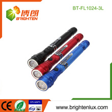 Factory Bulk Sale 4*LR44 Button Cell Operated Aluminum Portable Magnetic Based 3 led Telescopic Flashlight with Pick-up Tool