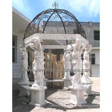 Gazebo de marbre de jardin avec statue de sculpture en pierre sculptée (GR051)