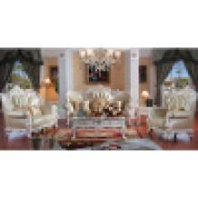 Sofa en cuir en bois pour des meubles de salle de séjour (D511)