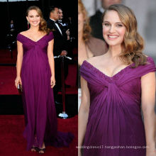 Purple Chiffon Off The Shoulder Sequin Sheath Chapel Train Red Carpet/Party Dress Celebrity Gown