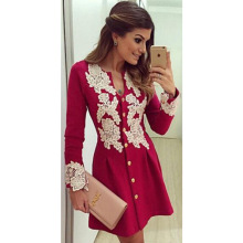 Women Spring Winter Clothing Red Sexy Lace Top Latest Dress Designs