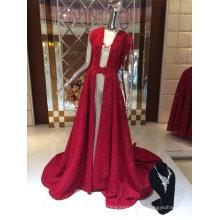 Único diseño nueva llegada rojo piso de longitud chal vestido de noche