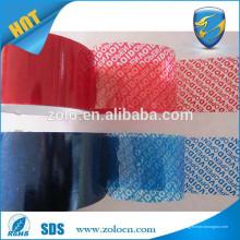 Niedriger Preis Rote / blaue Farbe Sicherheit öffnen void PET Klebeband & Sicherheit Band Etikett