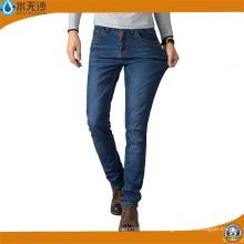Blaue Männer Baumwolle Stretch Basic Wash Fashion Wash Freizeitkleidung Slim Fit Gerade Denim Jeans