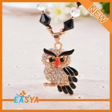 High Quality Rhinestone Owl Shape Pendant Necklaces